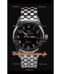IWC MARK XVIII Montre suisse réplique en acier 904L cadran noir 40MM - Réplique miroir 1:1