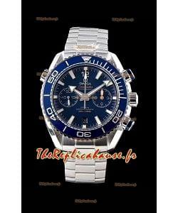 Chronographe Omega Planet Ocean 600M 904L Cadran bleu acier 1:1 Réplique de montre miroir