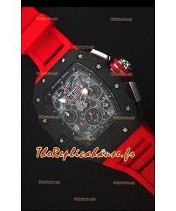 Richard Mille RM011-03 Montre avec boîtier en Un morceau de Carbone forgé Noir et Bracelet Rouge