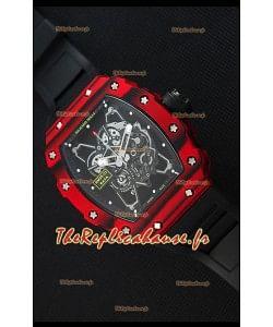 Richard Mille RM35-01 Montre avec boîtier en Un morceau de Carbone forgé rouge  et bracelet Noire