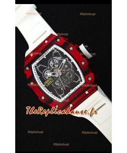 Richard Mille RM35-01 Montre avec boîtier en Un morceau de Carbone forgé rouge et Bracelet Blanc