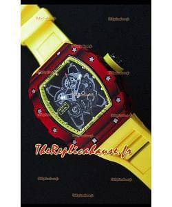 Richard Mille RM35-01 Montre avec boîtier en Un morceau de Carbone forgé rouge et Bracelet Jaun