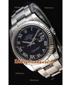 Montre Rolex Datejust 36mmCal.3135 Mouvement Suisse à Cadran Noir et Bracelet Oyster Répliquée — Montre en acier ultime 904L