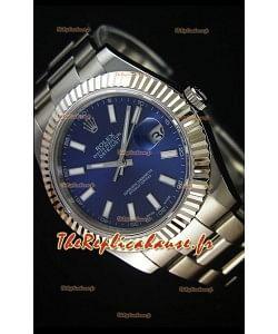Rolex Datejust II 41MM avec Mouvement Cal.3136  Montre Réplique Suisse avec Cadran Bleu Marine