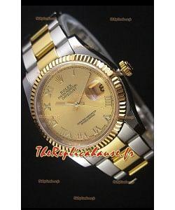 Rolex Datejust Montre Réplique avec Cadran romain en Or 36MM avec 3135 Mouvement Suisse