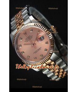 Rolex Datejust Montre Réplique avec Cadran en Or Rose et de diamants 36MM avec Mouvement Suisse 3135