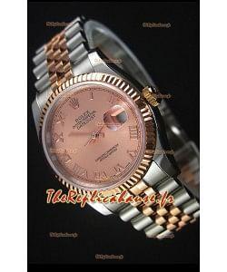 Rolex Datejust Montre Réplique avec Cadran romain en Or Rose 36MM avec Mouvement Suisse 3135