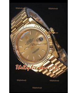 Rolex Day-Date 40MM Montre Réplique Cadran d'Or Marqueurs de bâton Mouvement Suisse Cal.3255