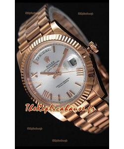 Rolex Day-Date 40MM Montre Suisse en Or Rose et Cadran Argent Chiffres romains
