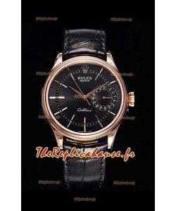 Rolex Cellini Date Ref#50515 Réplique 1:1 Miroir Or Rose 904L Montre en acier cadran marron
