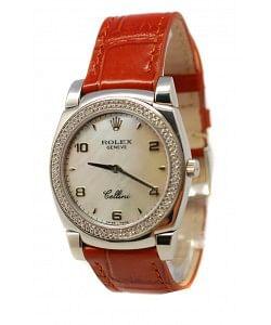 Rolex Cellini Cestello Femmes Swiss Montre Lunette de Diamants Bracelet de Cuire Face de Perle