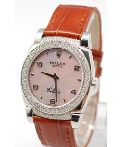 Rolex Cellini Cestello Femmes Swiss Montre Lunette et Crochets de Diamants Bracelet de Cuir Face de Perle Rose