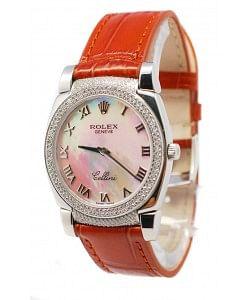 Rolex Cellini Cestello Femmes Swiss Montre Lunette et Crochets de Diamants Bracelet de Cuir Face Romaine de Perle Blanche