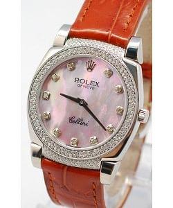 Rolex Cellini Cestello Femmes Swiss Montre Cornes, Lunette et Heure de Diamants, Bracelet de Cuir Face Nacrée Rose
