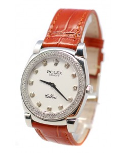 Rolex Cellini Cestello Femmes Swiss Montre Lunette et Index de Diamants Bracelet de Cuir Face Blanche
