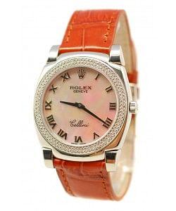 Rolex Cellini Cestello Femmes Swiss Montre Lunette de Diamants Bracelet de Cuir Face Romaine Nacrée Beige