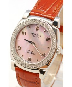 Rolex Cellini Cestello Femmes Swiss Montre Lunette de Diamants, Bracelet de Cuir Face Nacrée Rose