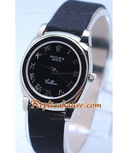 Rolex Cellini Cestello Femmes Swiss Montre Bracelet en Nylon Face Noire Romaine