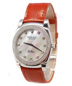 Rolex Cellini Cestello Femmes Swiss Montre Index Horaires et Lunette de Diamants Bracelet de Cuir Face Nacrée Blanches
