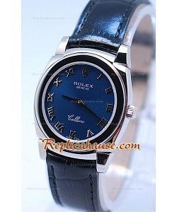 Rolex Cellini Cestello Femmes Swiss Montre Toute Bleue Romaine