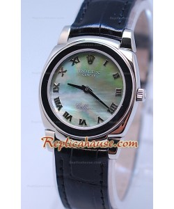 Rolex Cellini Cestello Femmes Swiss Montre Bracelet en Cuir Face Perle Verte