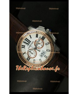 Calibre de Cartier Reproduction Montre Chronographe Japonaise en Deux Teintes