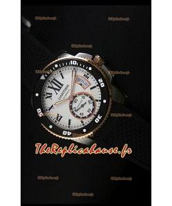 Montre Calibre de Cartier avec boîtier deux tons et cadran blanc 42mm - Réplique de montre miroir 1:1