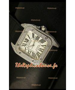 Cartier Santos 100 1:1 Réplique de montre miroir pour hommes en acier et en diamants Taille 42mm