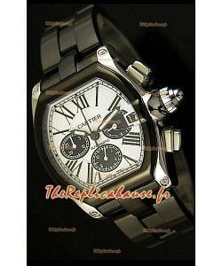 Cartier Roadster Chronograph XL Original avec revêtement DLC 1:1 Réplique de montre miroir