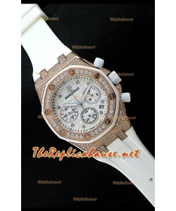 Audemars Piguet Royal Oak Femmes Chronograph Montre de Cadran Blanc en Or Rose