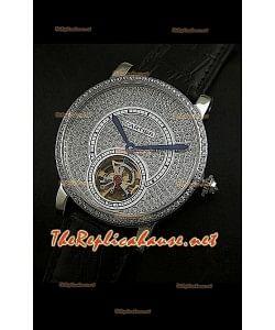 Cartier Calibre Tourbillon Montre avec Cadran de Diamants