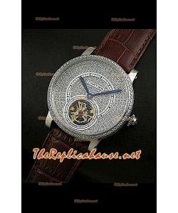 Cartier Calibre Tourbillon Montre avec Cadran de Diamants Bracelet Marron
