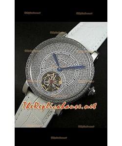 Cartier Calibre Tourbillon Montre avec Cadran de Diamants Bracelet Blanc