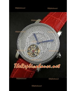 Cartier Calibre Tourbillon Montre avec Cadran de Diamants Bracelet Rouge