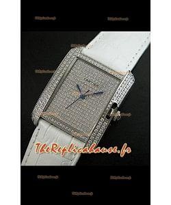 Cartier Tank Anglaise Reproduction Montre Pour Femmes en Acier/Bracelet Blanc