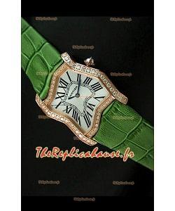 Cartier Tank Folle Reproduction Montre Pour Femme avec Boitier en Or Jaune/Bracelet Vert