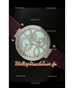 Cartier Reproduction Montre avec Lunette Cadran Incrustés de Diamants dans un Boitier en Acier/Bracelet Bordeaux