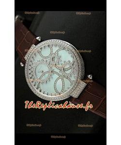 Cartier Reproduction Montre avec Lunette Cadran Incrustés de Diamants dans un Boitier en Acier/Bracelet Marron