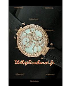 Cartier Reproduction Montre avec Lunette Cadran Incrustés de Diamants dans un Boitier en Or/Bracelet Noir