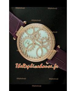 Cartier Reproduction Montre avec Lunette Cadran Incrustés de Diamants dans un Boitier en Or/Bracelet Bordeaux
