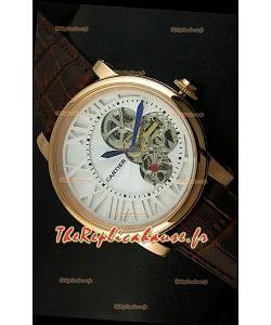 Rotonde De Cartier Cadran Love Reproduction Montre Japonaise - Boitier Or Jaune