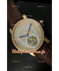 Ronde de Cartier Tourbillon Reproduction Montre Boitier en Or Rose - Bracelet Marron Foncé