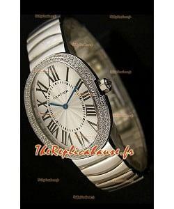 Cartier Baignoire Reproduction Montre Japonaise avec Lunette en Diamants