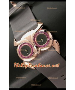 Chopard Animal World Femmes Owl Montre avec Cadran Noir Or Rose