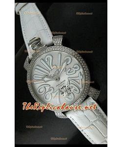 GaGa Milano Manuale Japanese Montre Cadran Métallique Lunette de Diamants