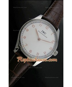 IWC Manual Winding Montre avec Cadran Blanc