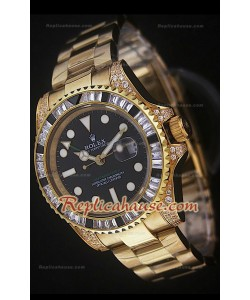 Rolex GMT Masters II Swiss Replica Montre en Or Jaune avec Diamants