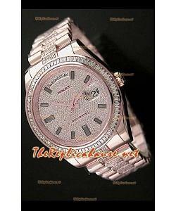 Rolex Day Date II Swiss Montre - 41 mm avec Lunette de Diamants Carrés et Or Rose