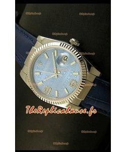 Rolex Imitation Datejust Montre Suisse Reproduction - 37MM - Cadran/Bracelet Bleu