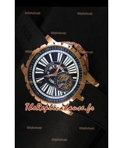 Montre Roger Dubuis Excalibur Tourbillon - Cadran noir avec plaquage or rose